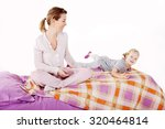 beautiful mother and daughter... | Shutterstock . vector #320464814