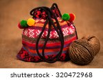 Small photo of color-ful cloth bag on hemp sheet