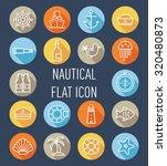 set of nautical flat icon