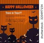 cat zombie halloween poster.... | Shutterstock .eps vector #320497154