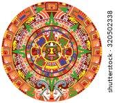 Vector Of Aztec Calendar On...