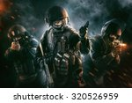 three soldiers in full uniform... | Shutterstock . vector #320526959