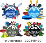 vector outdoor rafting caving... | Shutterstock .eps vector #320545430