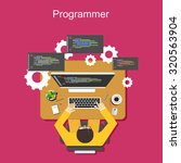 programmer illustration. flat... | Shutterstock .eps vector #320563904