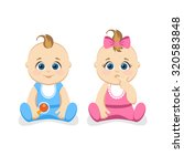 cute little baby boy and baby... | Shutterstock .eps vector #320583848