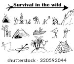 group of people  survival in... | Shutterstock . vector #320592044