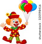 adorable clown holding colorful ... | Shutterstock .eps vector #320598416