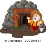 cartoon mine entrance with gold ... | Shutterstock .eps vector #320604584