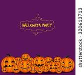 card with halloween pumpkin on... | Shutterstock .eps vector #320613713