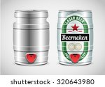 Metal Beer Keg With Grained And ...