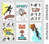 sport sketch paper cards set... | Shutterstock . vector #320646308