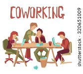 coworking center concept with... | Shutterstock . vector #320651009