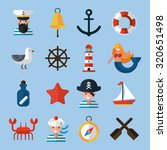 nautical icons set with sailor... | Shutterstock . vector #320651498