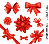 red silk gift bows and...   Shutterstock . vector #320654363