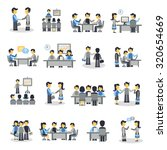 meeting icons flat set with... | Shutterstock . vector #320654669