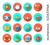 travel icon flat set with... | Shutterstock . vector #320655968
