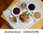 roast turkey breast with... | Shutterstock . vector #320665298