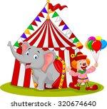 cartoon cute elephant and clown ...