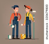 couple of house painter vector... | Shutterstock .eps vector #320679800