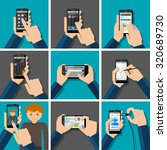 hands holding touchscreen...   Shutterstock .eps vector #320689730
