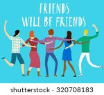 group of happy friends with ... | Shutterstock .eps vector #320708183