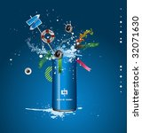 vector blue tin with a spray of ... | Shutterstock .eps vector #32071630