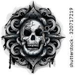 evil looking skull with twirl...   Shutterstock .eps vector #320717219