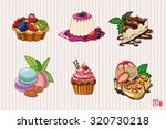 set of sweet bakery dessert. | Shutterstock .eps vector #320730218
