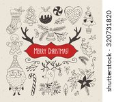 christmas hand drawing elements