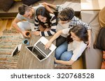 group of friends study at the... | Shutterstock . vector #320768528