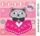 cute kitty in a pocket with... | Shutterstock .eps vector #320773124