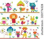 children background with cute... | Shutterstock .eps vector #320776328