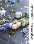 soap  cream and bath salt with... | Shutterstock . vector #320801600
