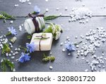 soap  cream and bath salt with... | Shutterstock . vector #320801720