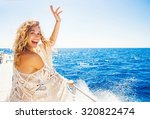 Woman Relaxing On A Cruise Boa...