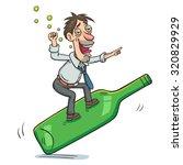 vector cartoon of drunk... | Shutterstock .eps vector #320829929