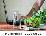 vegetable salad with a glass of ... | Shutterstock . vector #320833628
