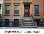 brick wall brownstone townhouse ... | Shutterstock . vector #320834030