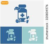 medicine bottle icon with pills. | Shutterstock .eps vector #320834576