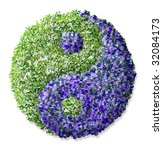 ying yang made of lowers - stock photo