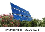 solar panel white background - stock photo