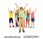 boys and girls stand together... | Shutterstock . vector #320842994