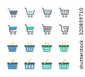 shopping cart   basket icons set | Shutterstock .eps vector #320859710