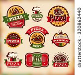 set 2 of vintage styled pizza... | Shutterstock .eps vector #320862440