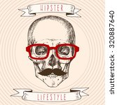 hipster skull with glasses and... | Shutterstock .eps vector #320887640