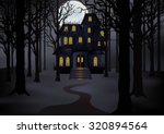 haunted house in foggy forest...   Shutterstock .eps vector #320894564