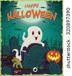 vintage halloween poster design ... | Shutterstock .eps vector #320897390