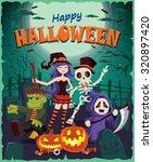 vintage halloween poster design ... | Shutterstock .eps vector #320897420