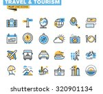flat line icons set of travel... | Shutterstock .eps vector #320901134