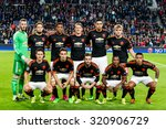 Small photo of EINDHOVEN - SEPTEMBER 14: David de Gea, Daley Blind, Anthony Martial, Bastian Schweinsteiger, Chris Smalling, Luke Shaw, Ander Herrera, Matteo Darmian, Juan Mata, Ashley Young, Memphis Depay teamphoto
